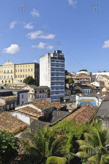 August 9, 2010: View over houses in Pelourinho, Salvador da Bahia, Bahia, Brazil, South America