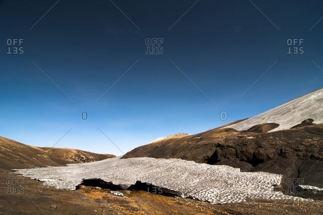 Barren volcanic landscape on the way from Skogar to Landmannalaugar, Iceland, Europe