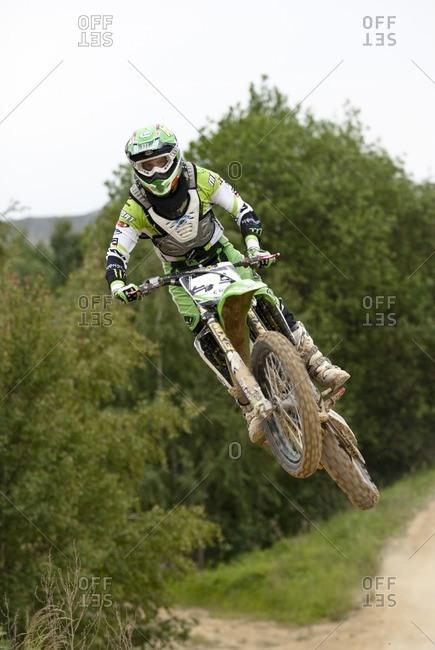 June 6, 2009: Motocross rider on a racetrack