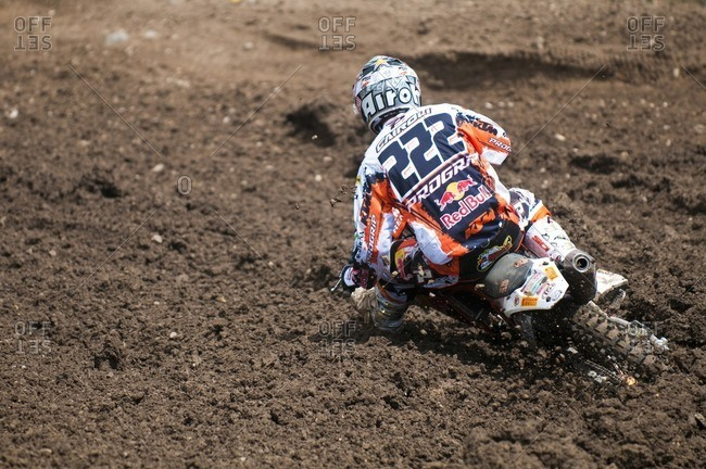 June 20, 2010: Motocross rider on a racetrack
