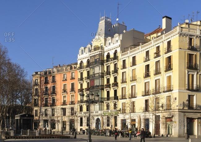 February 20, 2012: Historical row of houses, Plaza de Oriente, Madrid, Spain