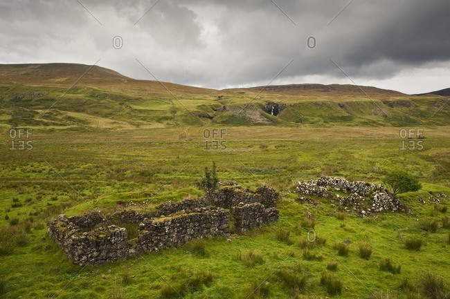 Ruin of a residential building near Fairy Glen, Isle of Skye, Scotland, Great Britain