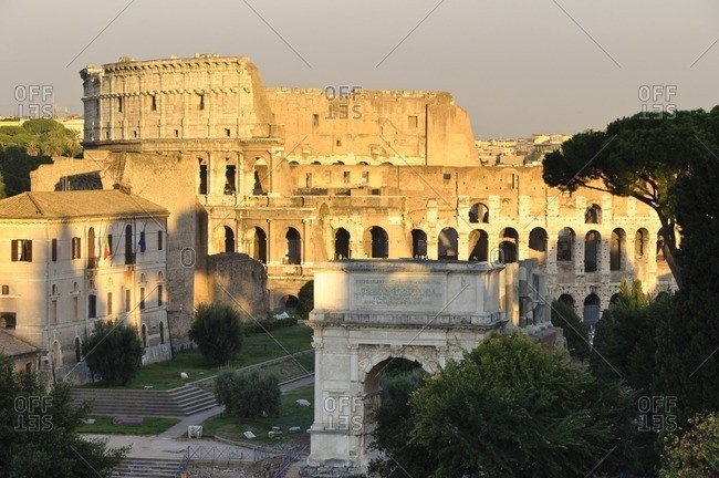 Golden hour light on the Colosseum, Rome, Italy