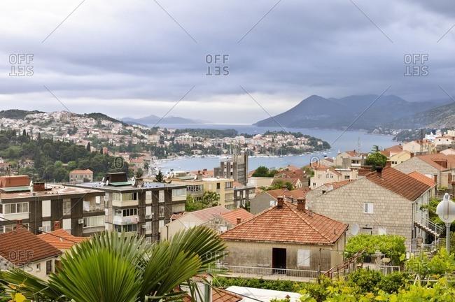 View over Dubrovnik and the Adriatic Sea, Dubrovnik, Adriatic Sea, Croatia, South East Europe