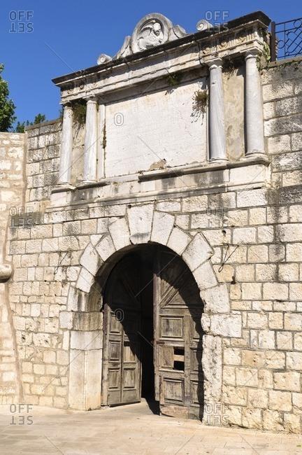 Old city gate in Split, Adriatic Sea, Dalmatia, Croatia, Southeast Europe