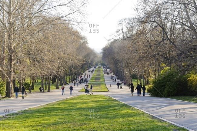 April 25, 2011: Boulevard in Primorski Park, Varna, Bulgaria, Balkans, Southeast Europe