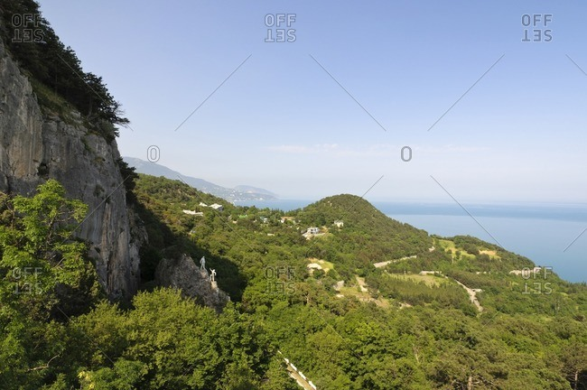 View from the Crimean Mountains to the Black Sea, Yalta, Crimea, Ukraine, Eastern Europe