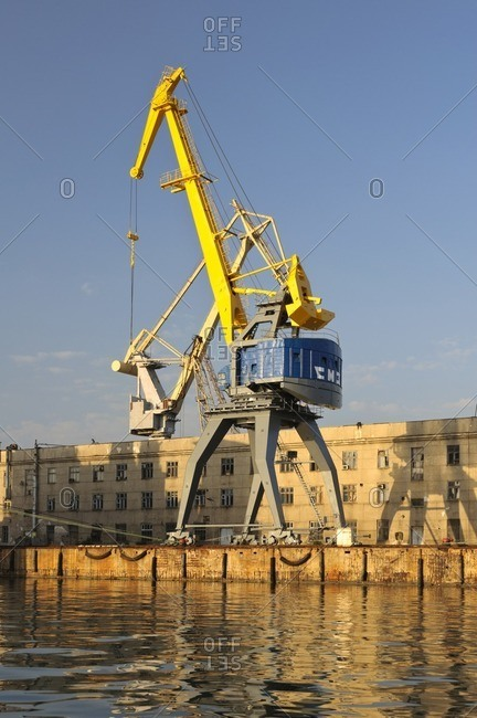 May 31, 2011: Crane in the harbor, Sevastopol, Crimea, Ukraine, Eastern Europe
