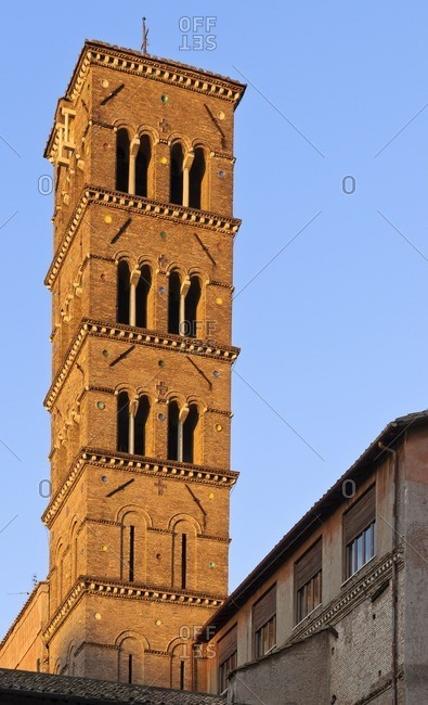 Tower of the Santa Francesca Romana church, Roman Forum, Rome, Italy, southern Europe, Europe