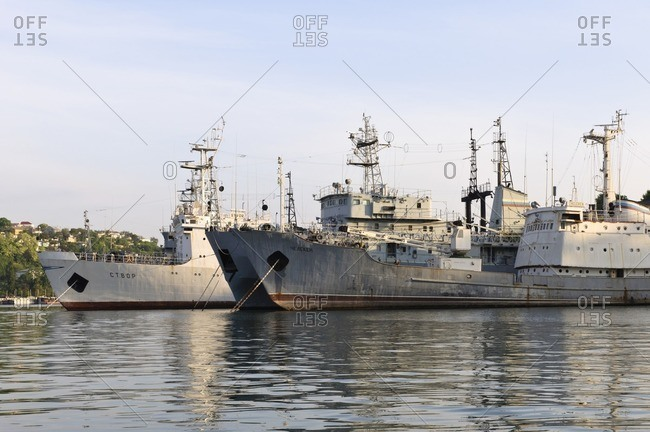 May 31, 2011: Ships of the Russian Black Sea fleet in the port of Sevastopol, Crimea, Ukraine, Eastern Europe