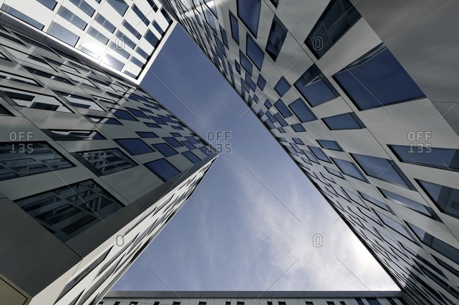 Courtyard of skyscraper, Hamburg, Germany