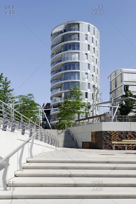 June 22, 2012: Vasco Da Gama Platz, Am Kaiserkai, architecture, Hafencity, Hamburg, Germany