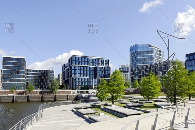 June 22, 2012: Marco Polo Terraces, architecture, Hafencity, Hamburg, Germany