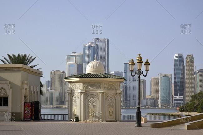 February 12, 2012: Wash house next to Al Noor Mosque, Corniche Street, Emirate of Sharjah, United Arab Emirates, Arabian Peninsula, Middle East