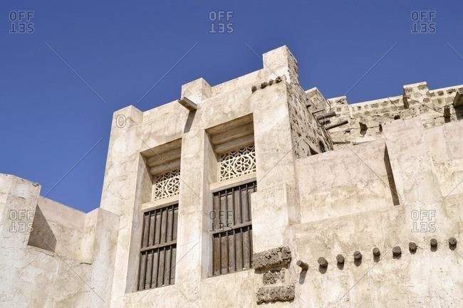 restored houses in the Heritage Area, Al Mareija, Emirate of Sharjah, United Arab Emirates, Arabian Peninsula, Middle East