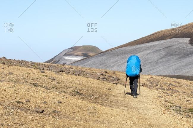 Hikers on the way from Skogar to Landmannalaugar, Iceland, Europe