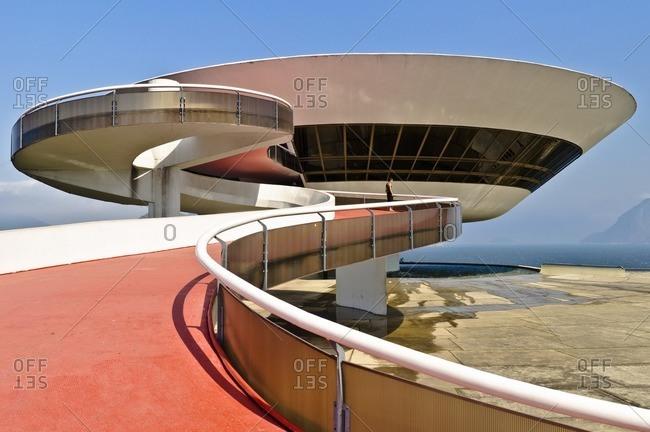 August 27, 2010: Museum of Modern Art, built by Oscar Niemeyer, Niteroi, Brazil