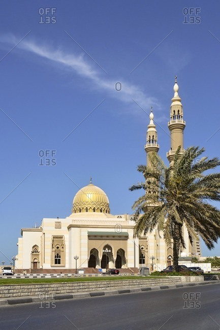 February 12, 2012: Corniche Mosque, Corniche Road, Emirate of Sharjah, United Arab Emirates, Arabian Peninsula, Middle East
