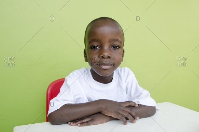 February 22, 2012: Little boy in kindergarten, Kampala, Uganda, East Africa, Africa