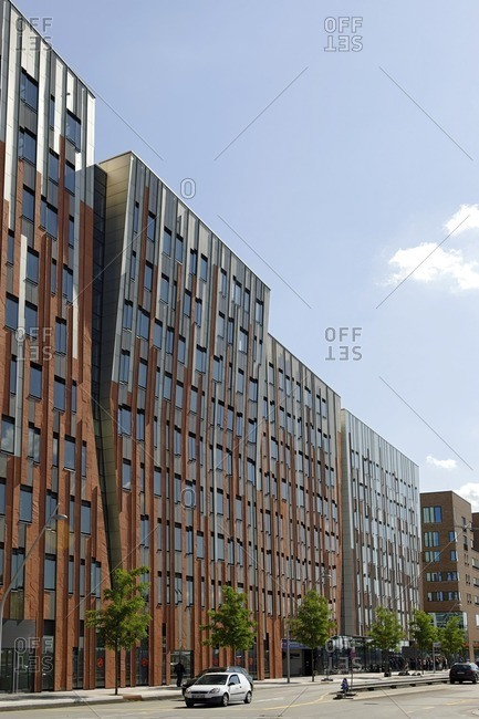 June 22, 2012: Sumatrakontor, facade, architecture, Hafencity, Hamburg, Germany