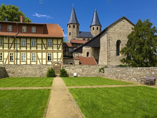 Garden of Silence and Abbey Church Sankt-Bartholomaus, Drubeck, part of Ilsenburg, Harz, Saxony-Anhalt, Germany