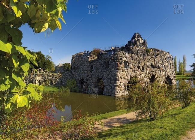 Rock island Stein in Worlitzer Park, Saxony-Anhalt, Germany