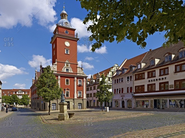 July 18, 2010: Hauptmarkt with town hall in Gotha, Thuringia, Germany