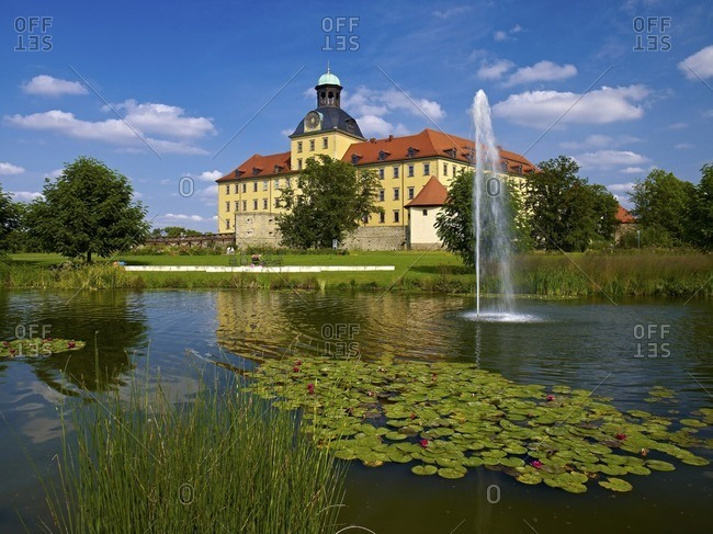 Moritzburg Castle with castle pond and palace garden, Zeitz, Saxony-Anhalt, Germany