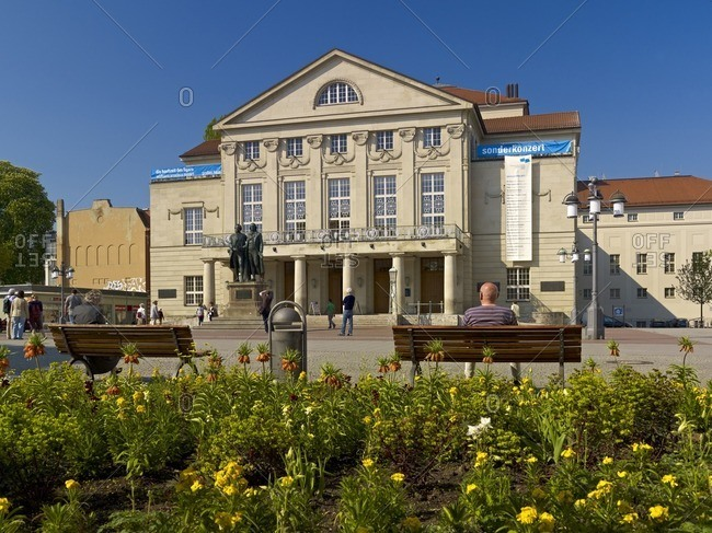 January 11, 2013: National Theater at Theaterplatz in Weimar with Goethe-Schiller monument, Weimar, Thuringia, Germany