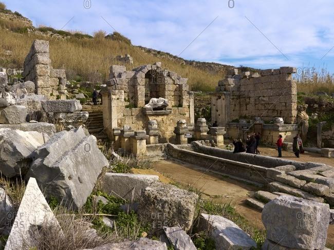 January 11, 2013: Nymphaeum of the ancient city of Perge near Antalya, Turkey