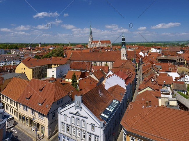 January 11, 2013: Panoramic view over the oldtown to the Kornmarktkirche and Marienkirche, Mulhouse, Germany
