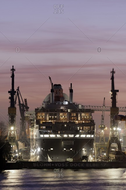 November 28, 2011: Cruise ship 'Queen Mary II', renovation work, dry dock Elbe 17, Blohm and Voss, Sankt Pauli, Hanseatic City of Hamburg, Germany