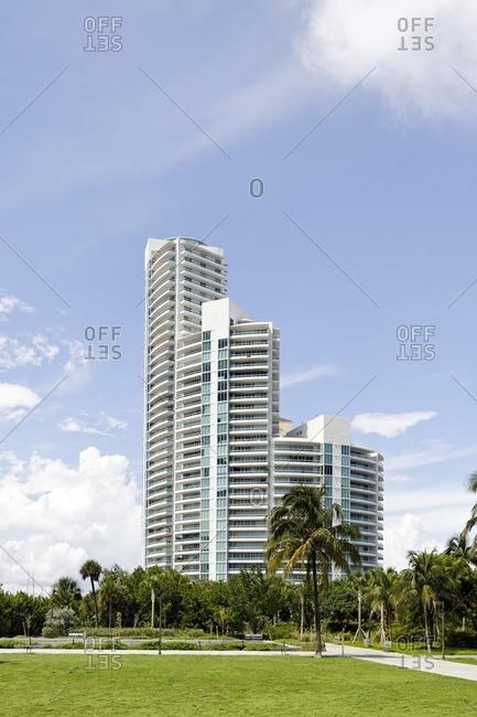 Skyscraper, tower at South Pointe Park, Miami South Beach, Florida, USA