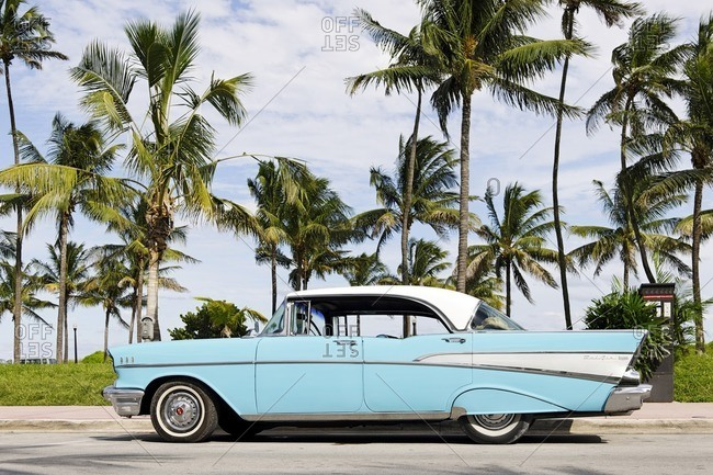 October 4, 2010: Chevrolet Bel Air, year 1957, fifties, classic American car, Ocean Drive, Miami South Beach, Art Deco District, Florida, USA