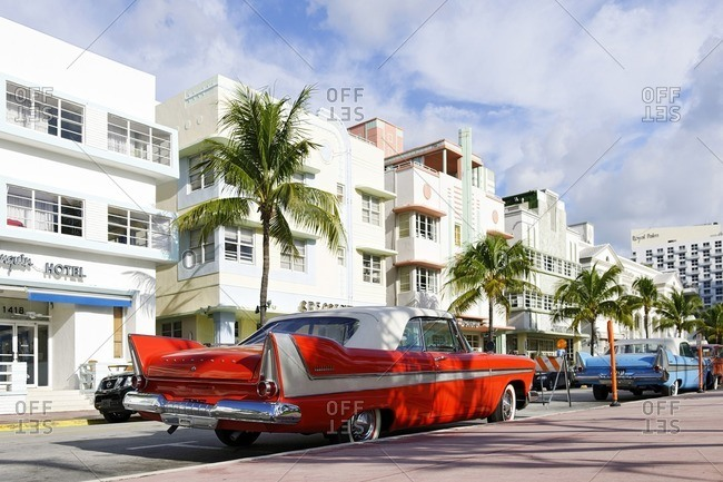 October 5, 2010: Plymouth Belvedere Cabrio, year 1957, fifties, classic American car, Ocean Drive, South Miami Beach, Art Deco District, Florida, USA