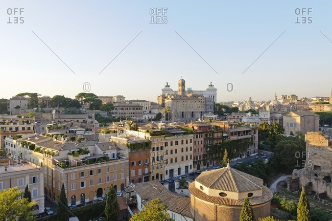 View over the Forum Romanum to the Viktor Emanuel II Monument, Rome, Italy, Southern Europe, Europe