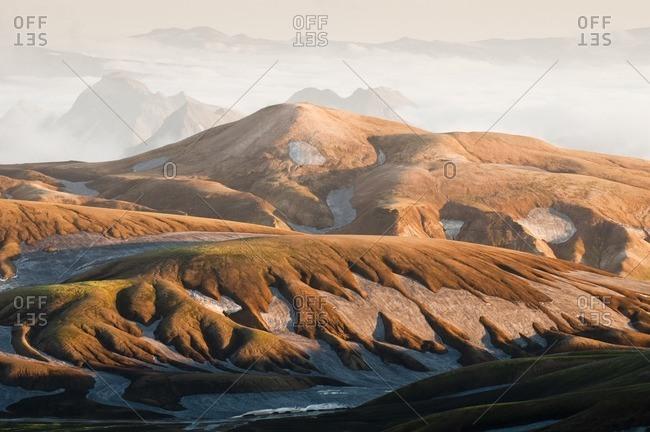 Sunset in the mountains on the way from Skogar to Landmannalaugar, Iceland, Europe
