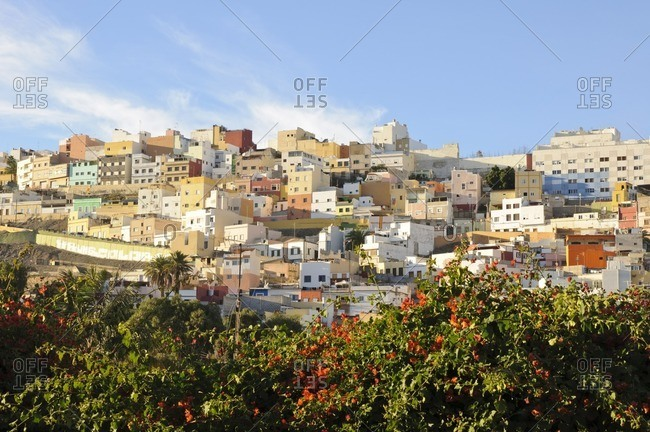 Residential area on a hill, Las Palmas de Gran Canaria, Gran Canaria, Canary Islands, Spain