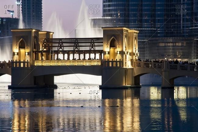 January 31, 2012: Dubai Fountain in front of Burj Khalifa, Dubai, United Arab Emirates