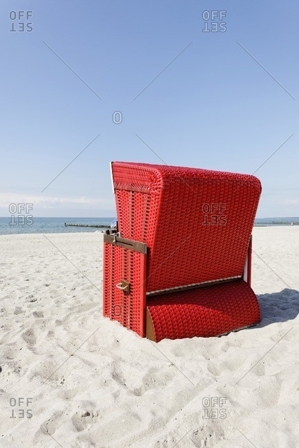 Red beach chair, Baltic Sea, Germany