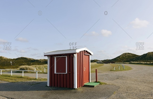 Small hut in parking lot, Kampen, Sylt, Schleswig-Holstein, Germany