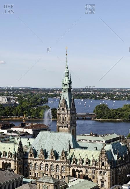 City Hall, Binnenalster and Aussenalster, Hamburg, Germany