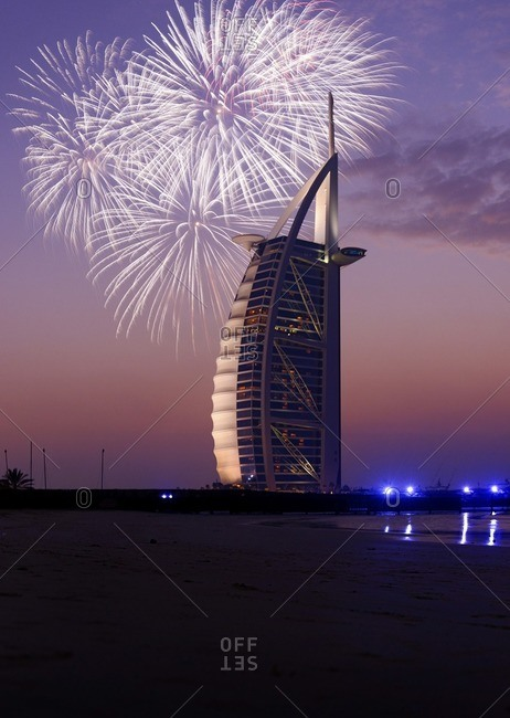 February 1, 2010: Hotel 'BURJ AL ARAB' with fireworks, Dubai, United Arab Emirates