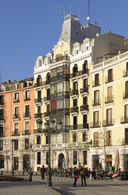 February 20, 2012: Historical row of houses, Plaza de Oriente, Madrid, Spain