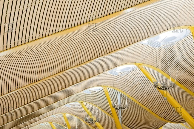 Wavy roof structure of Barajas Airport, Terminal 4, Madrid, Spain