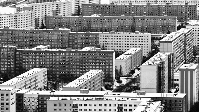 Prefabricated buildings, social housing, Jena, Thuringia, Germany