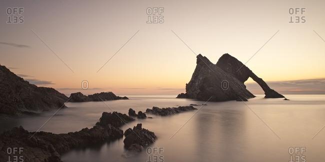 Bow Fiddle Rock at sunrise, Scotland, Great Britain