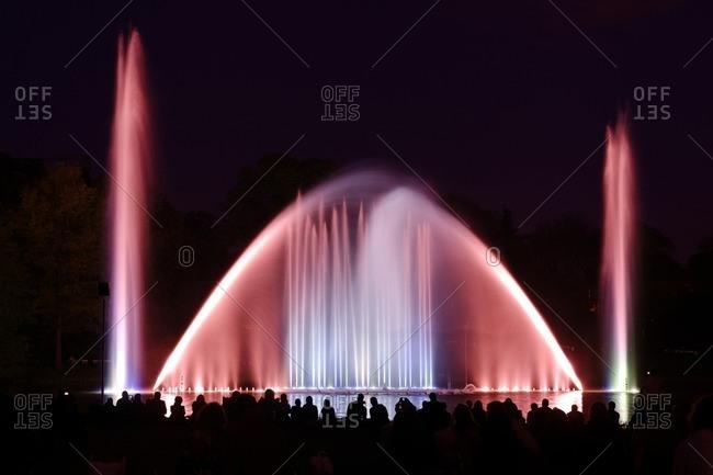 May 8, 2012: colorful water light games, Planten un Blomen, Park, Hamburg, Germany Europe