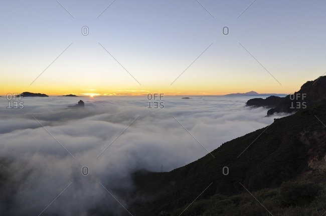 Viewpoint Cruz de Tejeda with views of the Teide, sunset, Gran Canaria, Canary Islands, Spain