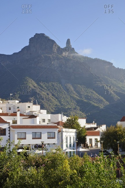 Tejeda, town view, mountains in the background, Gran Canaria, Canary Islands, Spain